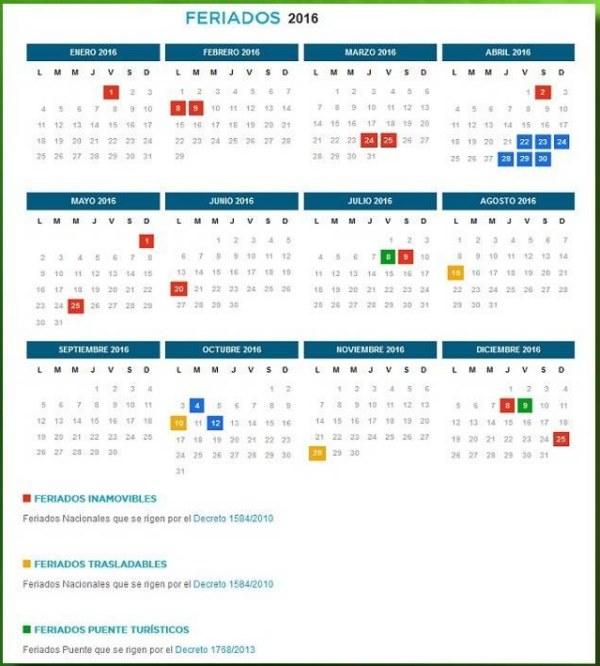 Calendario feriados 2016